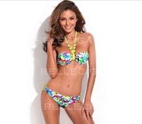 RELLECIGA Women Bathing Suit Fashionable Graffiti Print Bandeau Top Bikinis Set Swimwear Swimsuit Brazelle Halter Swimwear