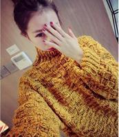 Fall/winter New Sweater 2014 Korean ladies Retro High collar padded coarse yarn variegated loose knit Turtleneck Sweater female