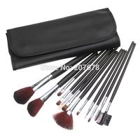 Free Shipping 12 PCS Professional Makeup Brushes Set  Eyebrow Lip Eyeshadow Blush Brush With Black Case