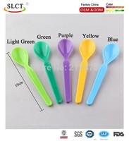 Wholesales plastic 5 colors mix long handle dessert pudding spoon