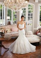 Hot Sexy Strapless Elegant vestido de noiva Charming Mermaid Ruffles Organza Wedding Dress Bridal Gown Cheap Wedding dresses