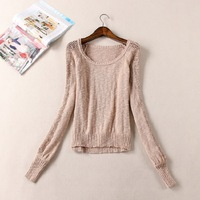 Free shipping  2014 women's o-neck long-sleeve all-match cutout design pullover short slim small sweater