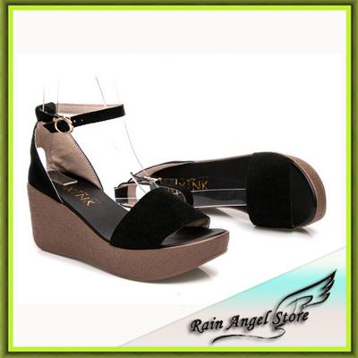 Black Scrub Leather Platform Sandals Women Summer Shoes Wedges Roman Sandals Female Open Toe sandalias femininas(China (Mainland))