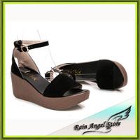 Black Scrub Leather Platform Sandals Women Summer Shoes Wedges Roman Sandals Female Open Toe sandalias femininas