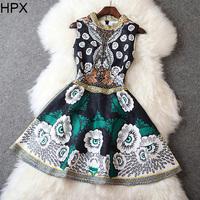 Women Royal Fashion Princess Floral Beads Tight Ball Dress,Ladies Brand Designer 2014 Autumn Winter New European American Style