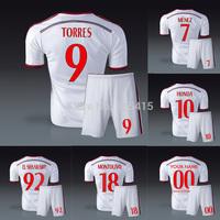 2014 AC milan away white jersey with shorts soccer uniforms Torres Kaka montolivo el shaarawy de siglio honda Menez Abate alex