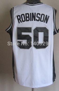 Fast free shipping NEW REV30 Embroidery 50 David Robinson Jersey, San Antonio Blank Basketball Jersey White,Black mix order(China (Mainland))