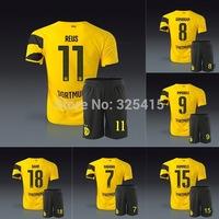 2014 Borussia Dortmund home yellow soccer jersey short uniform kit REUS KAGAWA GUNDOGAN HUMMELS IMMOBILE MKHITARYAN SAHIN RAMOS