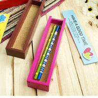 12PCS Korea Stationery Mini Wooden Pull Lovely Cartoon Wooden Pencil Cases Pencil Box Storage Box