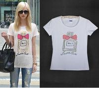 Free Shipping New Women's Casual Slim Short-sleeved White T-shirt Printed Cotton T-shirt  02
