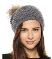 Europe Top casual fur pompon mesh knit cap edge preparation Rowan hat free shipping