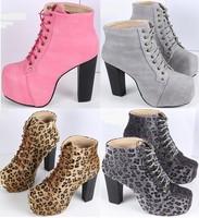ankle-boots girls platform pumps winter autumn women boots lace up high heels ladies shoes woman leopard martin boots GX140683
