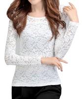 Elegant Appearance Slim Long Sleeve Lace Shirts 2014 Hot Selling Solid Plus Size Autumn Women Blouses 392