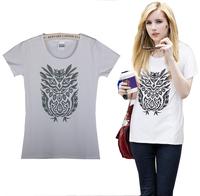 Free Shipping New Women's Casual Slim Short-sleeved White T-shirt Printed Cotton T-shirt  01
