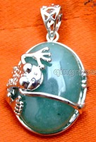 SALE Big 25*20mm Oval Natural Green Jade Agate with crawl Frog design Pendant-pen253 Wholesale/retail Free shipping