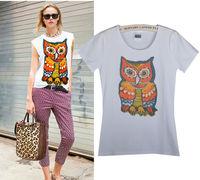 Free Shipping New Women's Casual Slim Short-sleeved White T-shirt Printed Cotton T-shirt  03