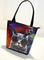 Fashion new vintage retro painted handbags women shoulder bag cartoon cat cool handbag printed handbags tote