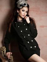 Top Quality 2014 Autumn New Women Ladies Slim Ruffle Wool Dress Victoria Beckham Tops Coat Color Black/Apricot Free Size