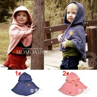 Free shipping Unisex Stretch Cotton Bear Warm Children Cap Baby Hat Scarf Cloak