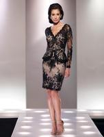 2015 Free Shipping Long Sleeve Lace Applique V Neckline Knee Length Black Short Elegant Plus Size Mother Of The Bride Dress