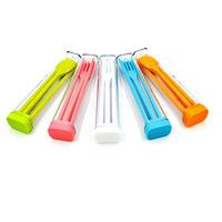 Portable Chopsticks + Fork + Soup Spoon+ Square Cup Set - (Random Color)