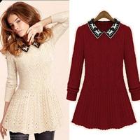Autumn Winter 2014 Women Sweater Dress Long Sleeve Turn-down Collar Character Reindeer Print Casual Knitted Sweater Dresses 2618