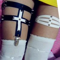 Simple Rivet 2014 Plus size dres garter belt Rcok leg ring vintage Harajuku lady leather Leg Garters flower cross free shipping