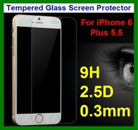 50pcs DHL Free Shipping 0.3mm 9H 2.5D Rounded Ultra Thin slim Tempered Glass Front Screen Protector for iPhone 6 Plus 5.5