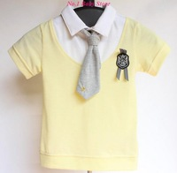 Top Quality Combed cotton fabric children T-shirt with tie,Free shipping Classic design baby clothes,Kid tops