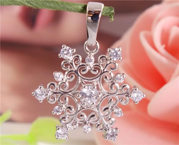 Fashion Womens 1PC 925 Sterling Silver Clear CZ Zircon Amazing Snowflake Pendant Free Shipping(China (Mainland))