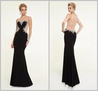Wonderful Party Dress for Woman Romantic Black Heart Shape Beading Sleeveless Mermaid Evening Gown Long Evening Dress