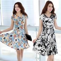 Milk silk print short-sleeve V-neck dress female Hot NEW NWT Evening/Summer Sexy Women Dress 19 color