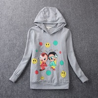 Free shipping the new autumn outfit 2014 han edition cartoon printed fleece sets big yards girl coat Hoodies