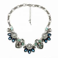 Luxury Women's Sweater Sparkling Crystal Flower Necklace