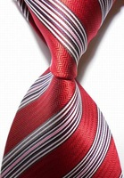 High Quality Wholesale&Retail New Striped White Red JACQUARD WOVEN Men's Party Wedding Tie Necktie Drop Shipping