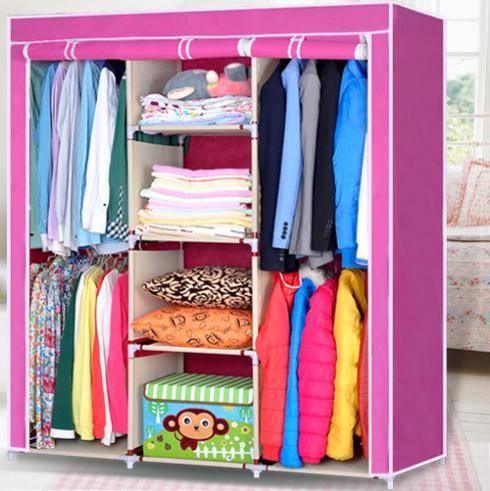 Free Shipping! New Portable Non Woven Canvas Cloth Wardrobe Clothes Storage Steel Hanger Closet(China (Mainland))