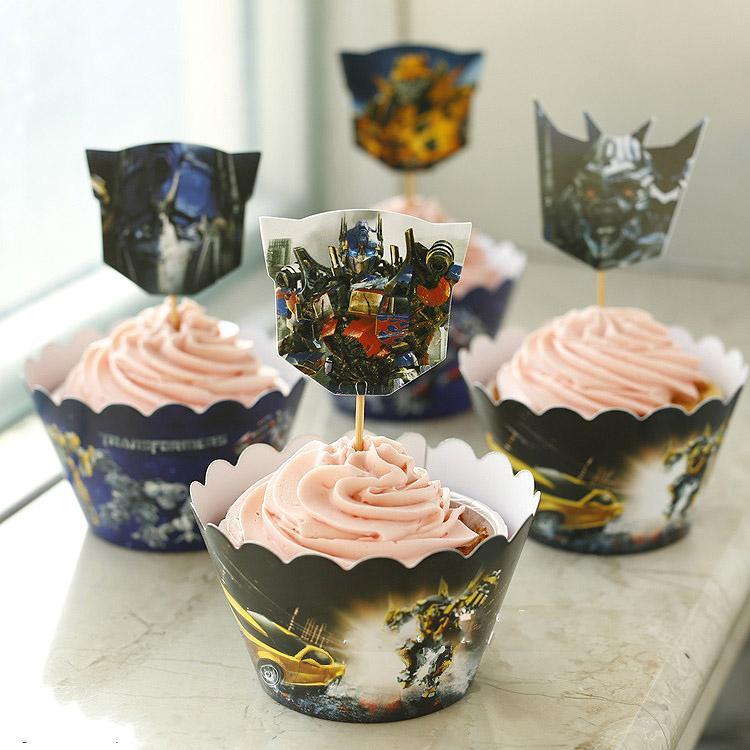 24 pcs transformadores Optimus Prime envoltórios do Cupcake de coco