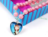 Frozen children's necklace  Princess Ann queen elsa heart-shaped pendant pink beads