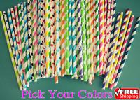 1000pcs Pick Your Colors Striped Polka Dot Chevron Star Heart Checkered Diamond Daisy Plain Patterned Party Paper Straws Bulk