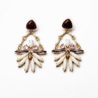 Lady Van Pink Flowers Gem Earrings For Women