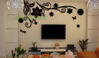 listed in stock 150x68cm 59x27in Ebay Hot Black Flower Vine Acrylic Stickers  Office Living Room TV Background Decal AS10241