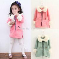 2015 Fashion Plaid Dress Korean girls thick fleece fur collar girl dress children's clothing New winter jacket Free shipping