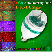 Auto Rotative Stage Lights Mult-Color 3W E27 RGB LED Crystal Mini Stage Light DJ Light Disco Bulb Lamp Free Shipping