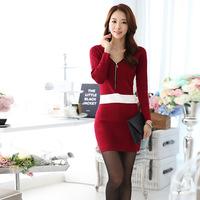 2014 autumn and winter new Korean long-sleeved V-neck long zipper sweater dress bottoming dress good quality
