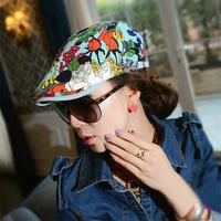 Korean fashion air spring and summer female Beret peaked cap color roses forward hat DG0991