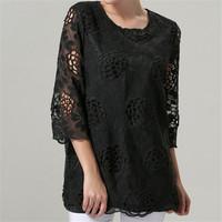Quality Brand Lace Blouses Flower Print Plus Size M-XXXL XXXXL 5XL Femininas Blusas Clothing Women Tops Casual Blouse Shirt