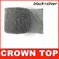 "4.75""x 10 Yards Wedding decoration Black+Silver Crystal Ribbon Party Christmas decorations Wrap/ ribbon Free shipping"