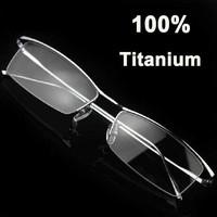 I-bright High-end Men's Business 100% Titanium Glasses Frame Half-frame Eyebrow Myopia Eyeglasses Prescription Eyewear