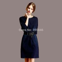 2014 Autumn New Arrival Disigner Luxury Women Vintage High Fashion Half Sleeve Elastic Wash Denim Patchwork Striped Back Dress