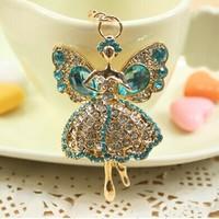 4Colors Great Gift for girl women Rhinestone Dancing  Angel Key chain metal Keychain Alloy Keyring,Gold Plated ,Handbag Charms